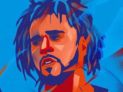 J_Cole portrait mixedmedia illustration