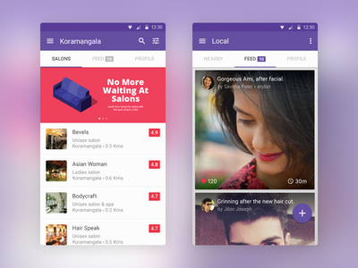 Styl style booking salon android interface minimal clean ux ui app