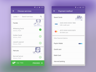 Styl 02 style booking salon android interface minimal clean ux ui app