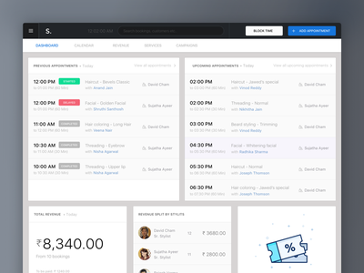 Styl Business business style booking salon dashboard web interface minimal clean ux ui app