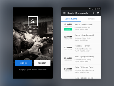 Styl Business 02 business style booking salon dashboard android interface minimal clean ux ui app