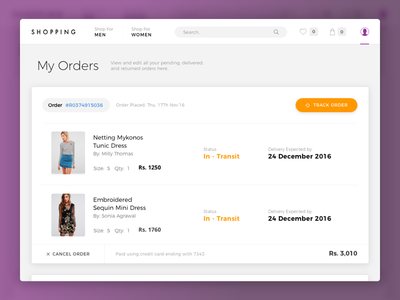 My Orders orders buy fashion cart shopping web interface minimal clean ux ui app