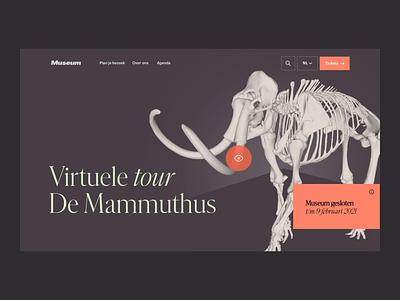 Museum animation motion history concept landing ui design web 3d mammoth museum