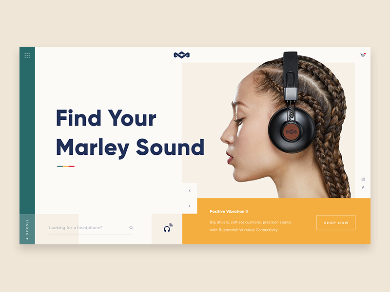 House of Marley reggae speaker headphone music marley design ui landing page webdesign