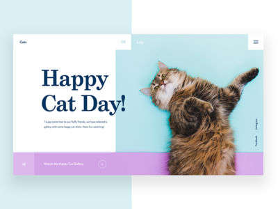 International Cat Day pet animal happy cats design ui landing page webdesign