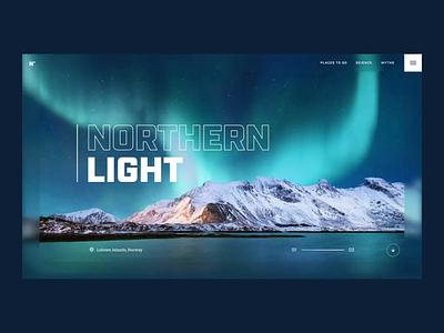 Northern Light lofoten norway northernlight travel page landing concept animation webdesign ui design