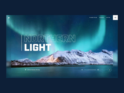 Northern Light lofoten norway northernlight travel page landing concept animation webdesign ui design