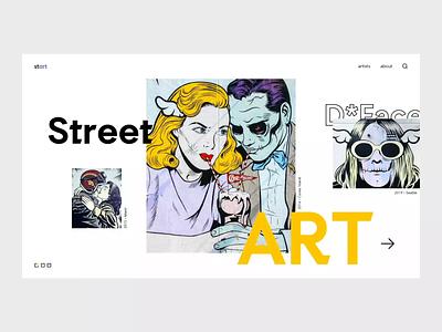 Street Art gallery dface banksy website page landing concept animation webdesign ui design art street streetart
