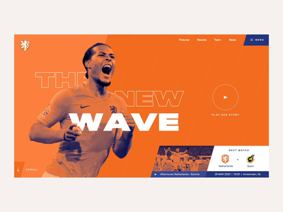 The New Wave🦁 web design orange animation webdesign ui design euro2020 netherlands holland sports football