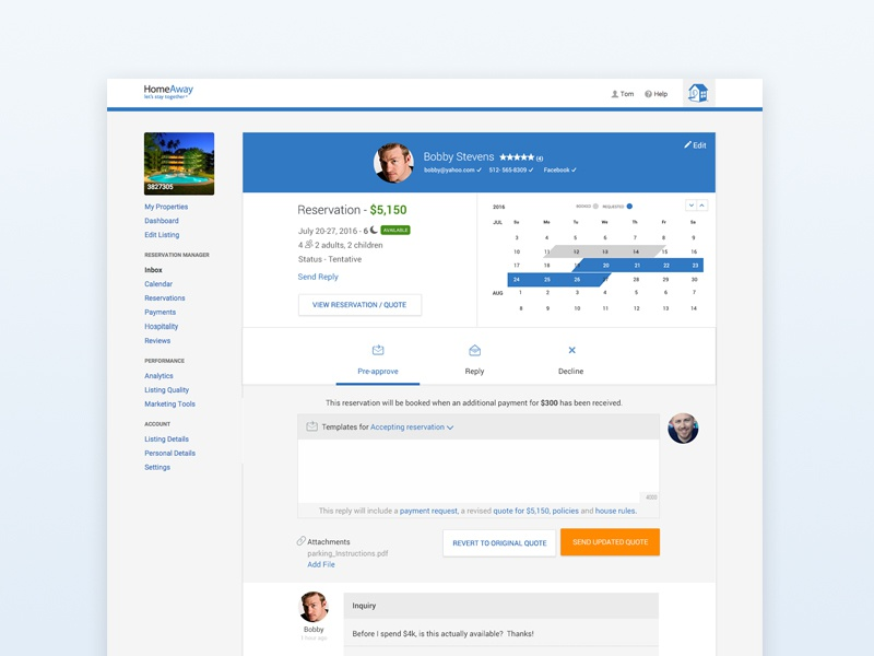 HA Payment Page web design inquiry payments ui ux backend
