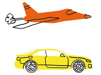 Car and plane pencildrawing simplicity sketch illustration aeroplane car infographic