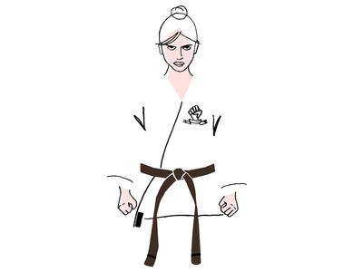 Karate girl girl fighter pencil illustration martial arts karate