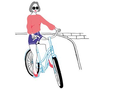 Cyclechic! illustration pencildrawing cyclechic bicycle sunglasses hotpants girl cycling