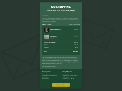 Daily UI :: 017 — Email Receipt