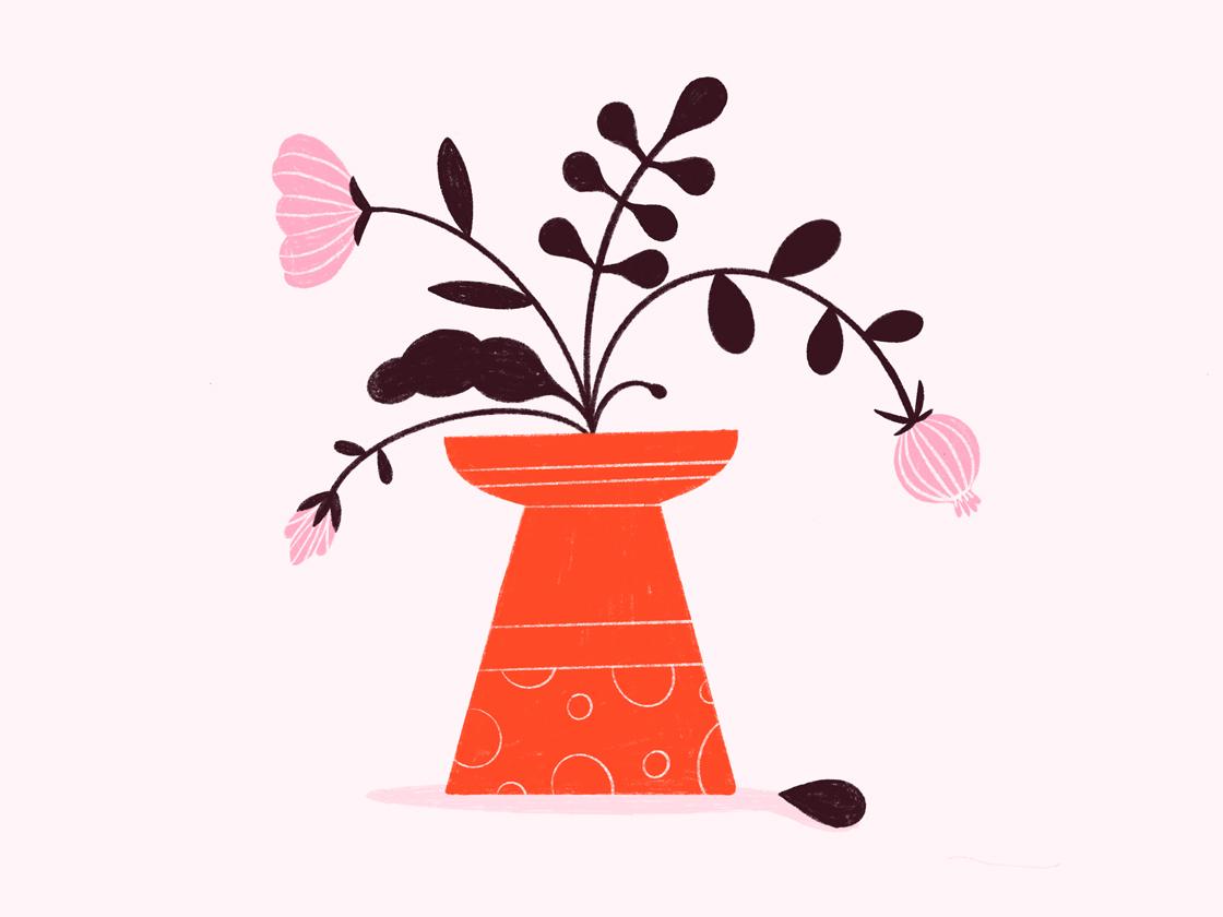 Vase pink vase flowers procreate pattern design design colors illustration