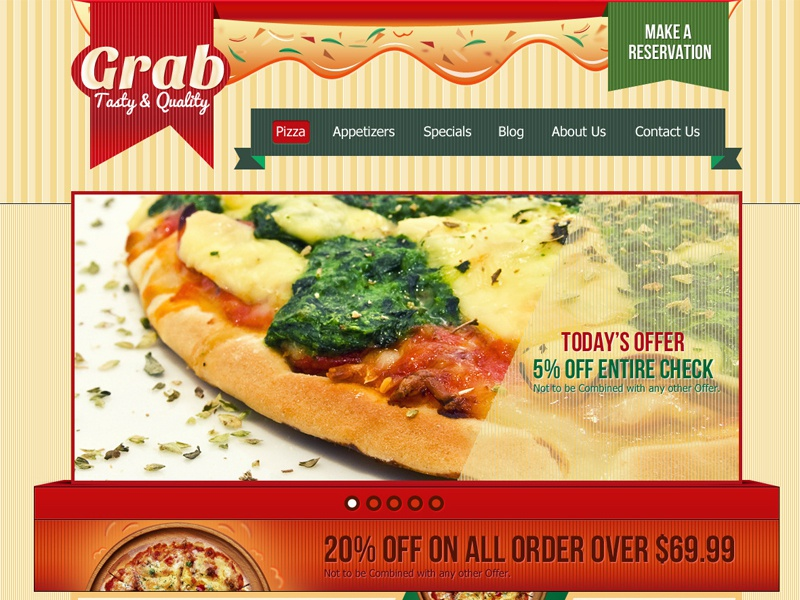 Grab Restaurant Theme  pizza food drinks restaurant website template layout pasta psd html design themeforest pxoutline restaurant theme word press