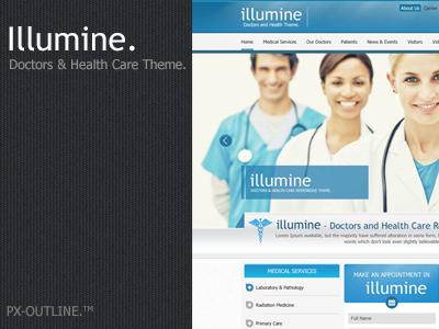 illumine - Doctor & Health Care Theme.  blue themeforest health care dentist psd layout design ui doctor clean medical illumine minimalist
