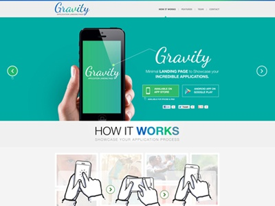 Gravity Mobile App Landing Page  graphic ui 960 grid android app app landing page app site clean creative iphone app minimalistic mobile app modern promotional page psd flat color website responsive flat design web design iphone design
