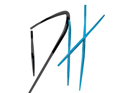 DH skinny twist shiny 3d letters initials