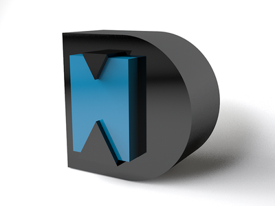 DH fat modern shiny 3d letters initials