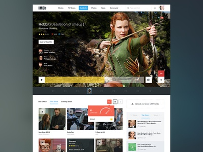 IMDb flat ui ux web application latest tv hollywood covers player video movies