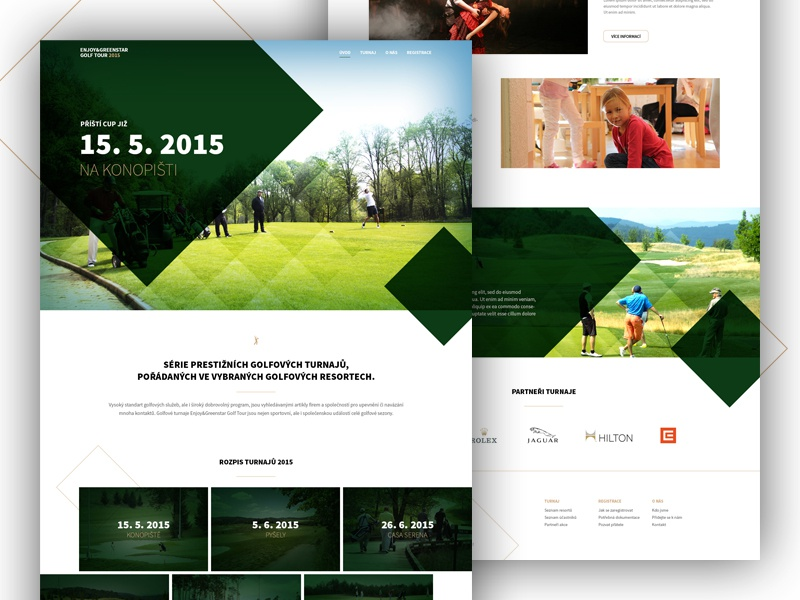 Golf Event Website (2 versions) website homepage golf event sport parallax designer modern responsive