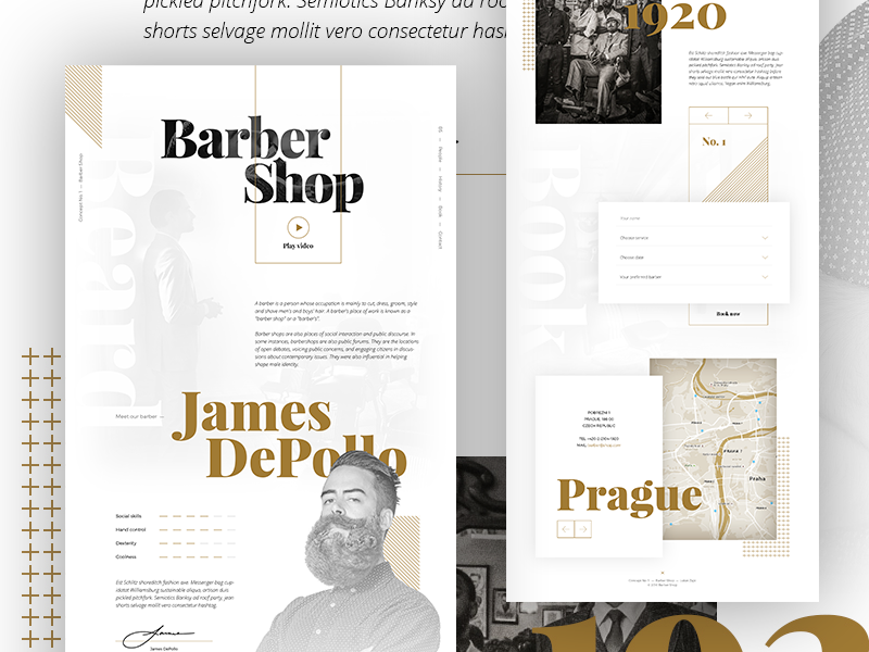 Concept No. 1 – Barber Shop homepage onepage grid layout concept barber shop gold typography bold parallax white