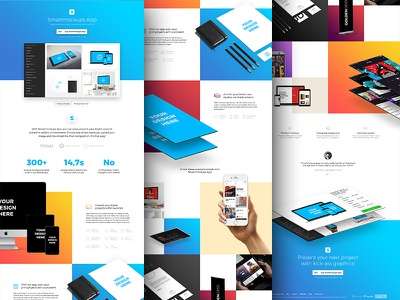 Smartmockups App - Landing page gradients colors showcase presentation mockup mac windows desktop tool app smartmockups