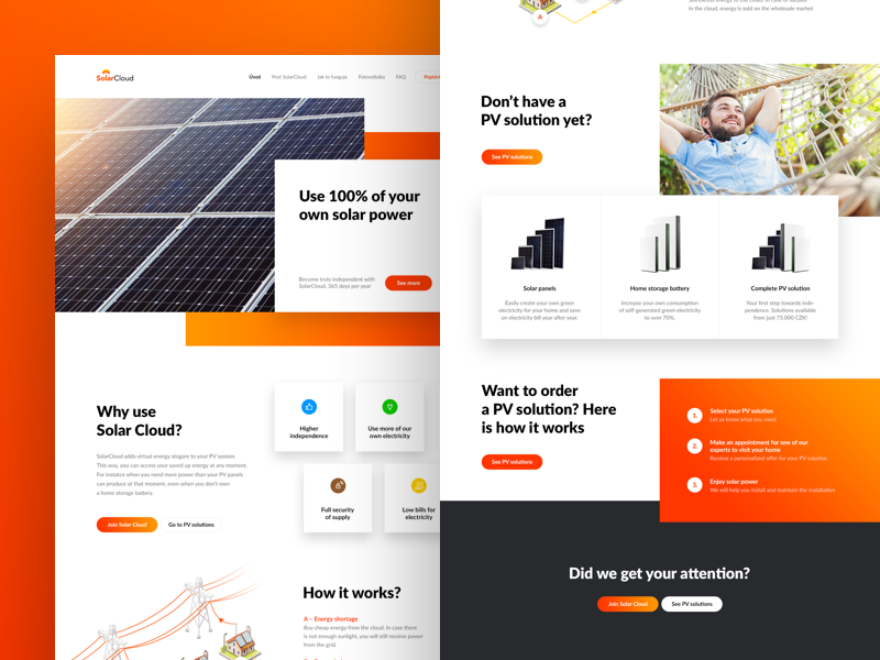 Solar cloud layout colorful warm gradients illustrations power energy solar living onepage microsite startup