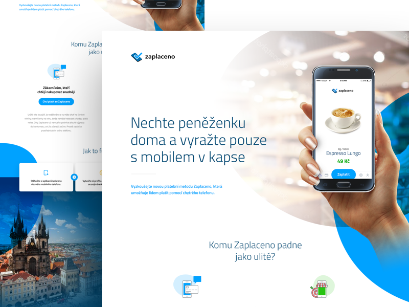 Zaplaceno mockup overlay multiply bubbles business money microsite onepage project startup payment mobile