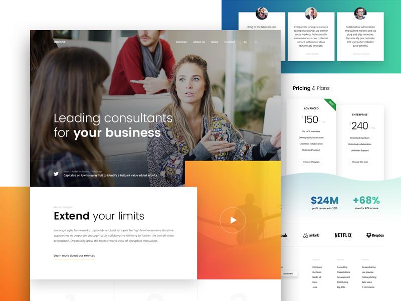 UNDSGN - Business style business agency wordpress undsgn responsive gradient pricing blog testimonials template