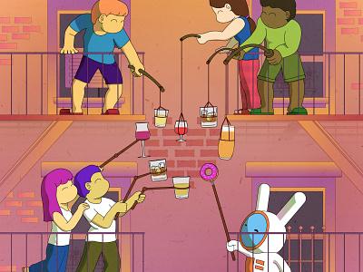 Quarantine illustration 4 nyc qurantine lockdown design illustration characterdesign characteranimation spacerabbitstudio spacerabbit