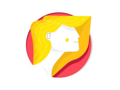 Golden Girl | Illustration red yellow blonde girl icon dribbble design art artwork illustration