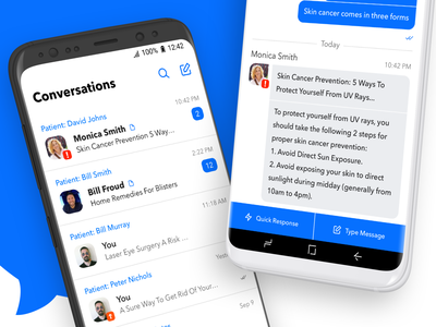 Secure Messenger for Doctors messenger flat clean blue appdesign app interface ux application android ui design
