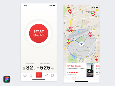 Gas Station Finder App auto figmadesign automotive car engine ux ui location location pin map ui iphonex figma