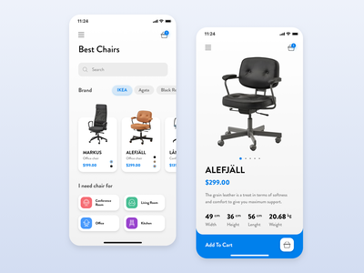 App for the selection of the best chair cart air white blue store app mobile app mobile minimal iphone ios ikea home page product page design clean chair cards app  design app