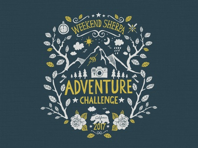 Adventure Challenge print texture adventure website t-shirt icon poster ink illustration