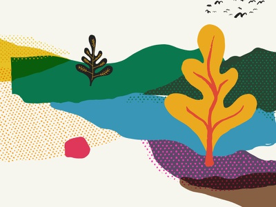 Layered Illustration colourful paint website screenprint print hand drawn illustration