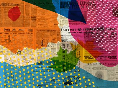 Shape & texture experiment poster texture newspaper colourful paint website screenprint print hand drawn illustration