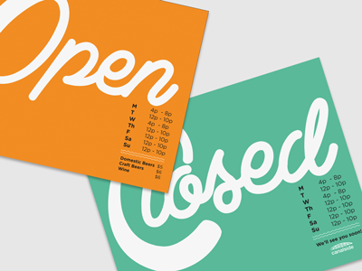 Open and Closed Signage for Canalside