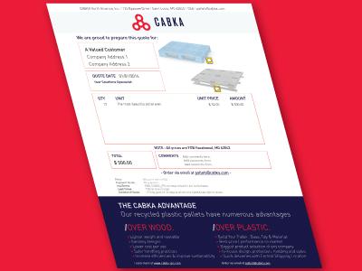 Quote Sheet Design for Cabka North America, Inc. forms design custom scripting pdf quote sheet