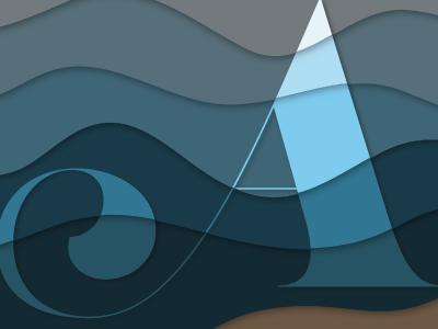Material Logo for Travel Agency travel agency sand beach waves material logo