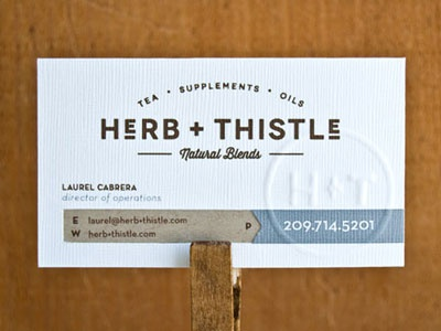 Herb Thistle Card collateral logo branding business card embossed stationary set brown grey design letterpress typography concept