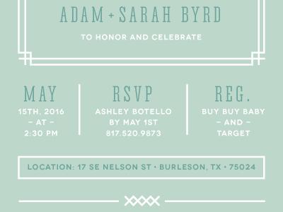Baby Shower Invite border white mint layout invite baby shower invitation green type typography details design