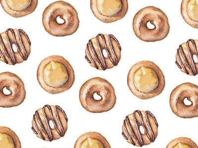 Watercolor Donuts surface pattern design chocolate sweets design pattern yellow brown painting food watercolor illustration donut