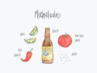 Micheladas illustration watercolor lettering salt tomato beer hot sauce lime recipe mexican drink micheladas