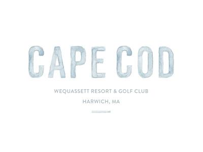 Cape Cod Invite print resort blue save the date hand lettering watercolor typography lettering cape cod invitation