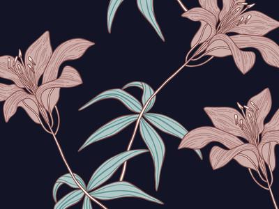 Botanical Lily Illustration design surface design nature pattern plant illustration floral flower textiles print botanical lily