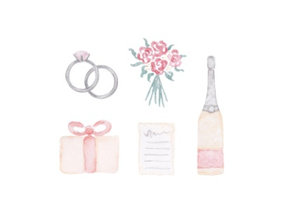 Watercolor Wedding Icons details blush grey bouquet floral present champagne rings hand painted icons wedding watercolor