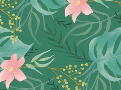 Botanical Tropical Pattern pink green leaves flowers foliage floral illustration pattern tropical botanical digital watercolor